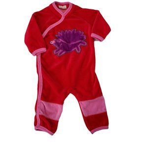 ME TOO Red Velour Long Sleeve Romper 3-6 mo